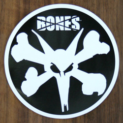 Bones Sticker Bones Rat White on Black 6""