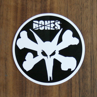 Bones Sticker Bones Rat White on Black 4""