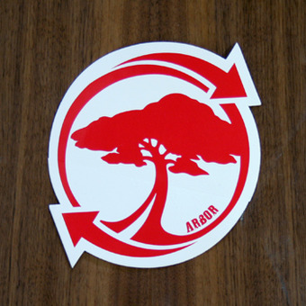 "Arbor Sticker 6"" Recycle Tree Red Circle"