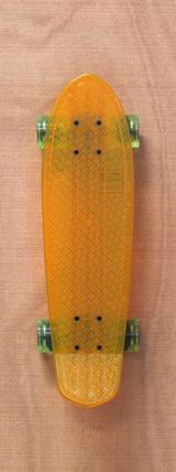 "Globe 24"" Bantam Clear Skateboard Complete - Orange/Lime"