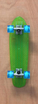 "Globe 24"" Bantam Clear Skateboard Complete - Lime/Light Blue"