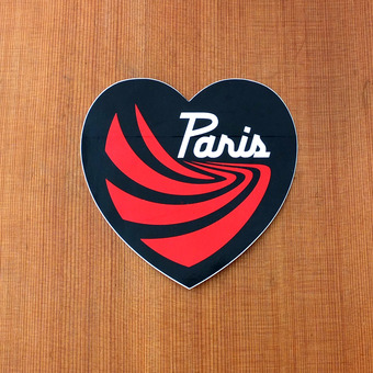 "Paris Sticker 4.75"" Black Heart"