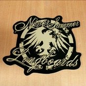 Never Summer Sticker Hawk Script Bronze