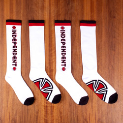 Independent Bar / Cross Socks 2 Pack - White