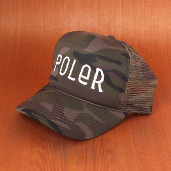 Poler Furry Font Trucker Hat - Green Camo