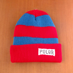 Poler Worker Man Stripe Beanie - Dark Red / Teal