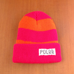 Poler Worker Man Stripe Beanie - Petunia / Blaze Orange