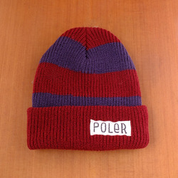 Poler Worker Man Stripe Beanie - Red / Deep Blue