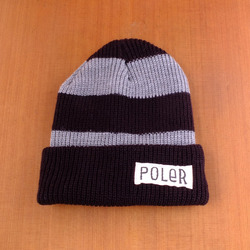 Poler Worker Man Stripe Beanie - Black / Grey