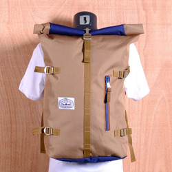 Poler Rolltop Backpack - Khaki/Navy