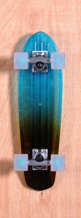 "Globe 24"" Bantam Clear Skateboard Complete - Light Blue/Amber Fade"