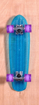 "Globe 24"" Bantam Clear Skateboard Complete - Blue/Purple"