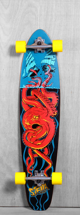 "Stella 42"" Kicktail Octo Red Longboard Complete"