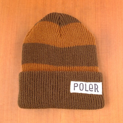 Poler Worker Man Stripe Beanie - Olive Drab / Copper